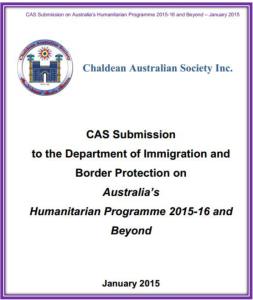 Chaldean Australian Society-Submission-Australia Humanitarian Programme 2015-16